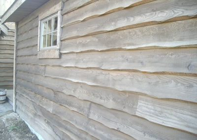 1x10 wavy edge bevel siding w/ dark finish